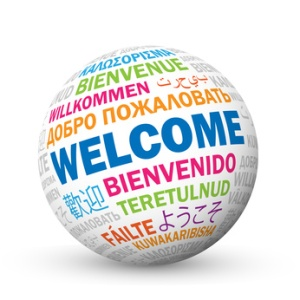 """WELCOME"" sphere icon with translations in various languages"